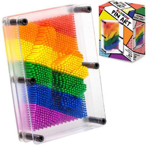 3D Rainbow Pin Art Toy Novelty Classic Gadget Adults Kids Gift